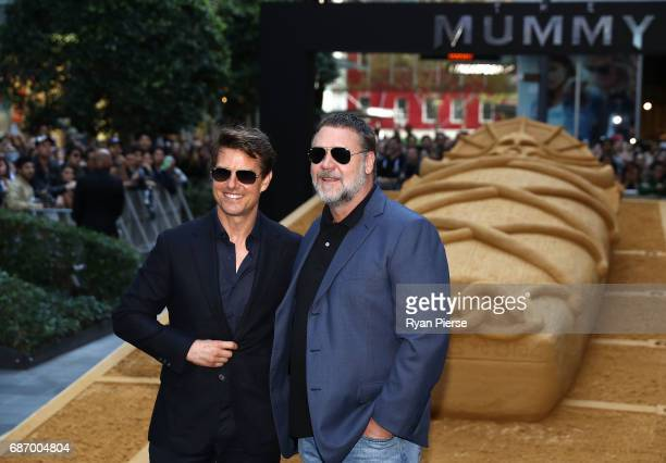 Tom Cruise and Russell Crowe pose during a photo call for The Mummy at World Square on May 23 2017 in Sydney Australia