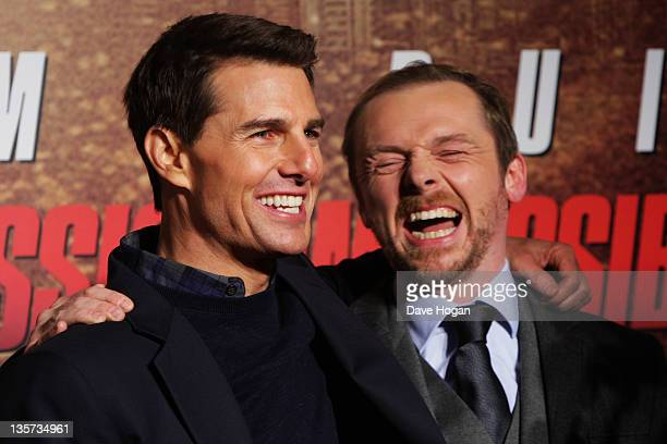 Tom Cruise and Simon Pegg attend the UK Premiere of Mission Impossible Ghost Protocol at The BFI IMAX on December 13 2011 in London United Kingdom