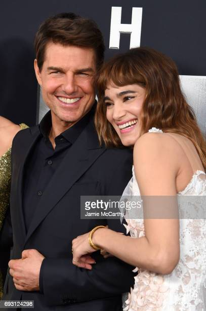 """Tom Cruise and Sofia Boutella attends the """"The Mummy"""" New York Fan Event at AMC Loews Lincoln Square on June 6, 2017 in New York City."""