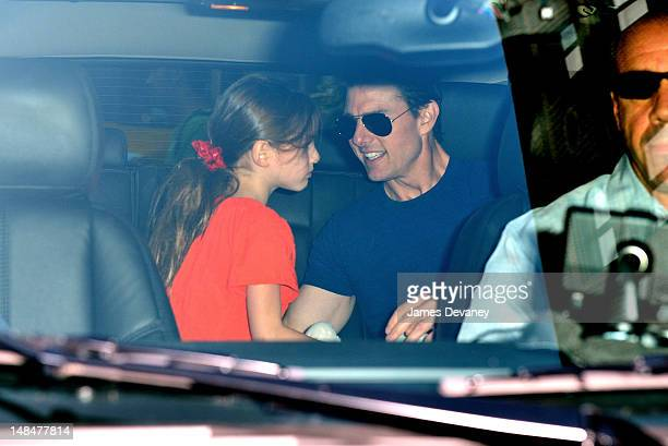 Tom Cruise and Suri Cruise seen leaving Greenwich Hotel on July 17 2012 in New York City