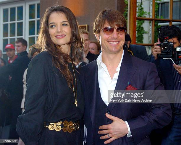 Tom Cruise and wife Katie Holmes arrive at the Altman Building on W 18th St for a fundraiser benefiting the New York Rescue Workers Detoxification...