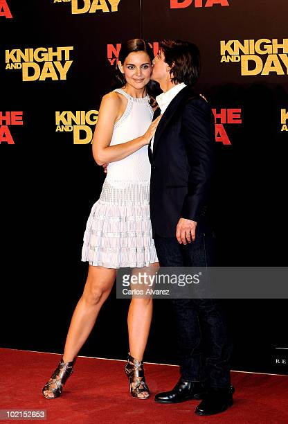 Tom Cruise and wife Katie Holmes attend Knight and Day premiere at the Lope de Vega Theater in Seville Spain