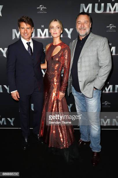 Tom Cruise Annabelle Wallis and Russell Crowe arrive ahead of The Mummy Australian Premiere at State Theatre on May 22 2017 in Sydney Australia