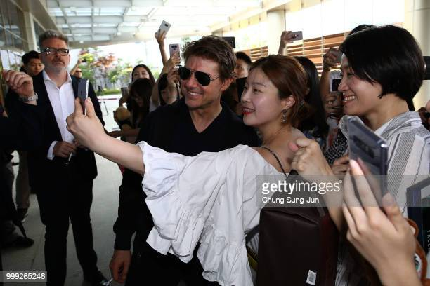 Tom Cruise arrives in support of the 'Mission Impossible Fallout' World Press Tour at Gimpo Airport on July 15 2018 in Seoul
