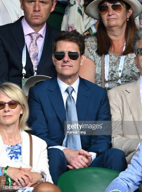 Tom Cruise attends day 13 of the Wimbledon Tennis Championships at All England Lawn Tennis and Croquet Club on July 11, 2021 in London, England.