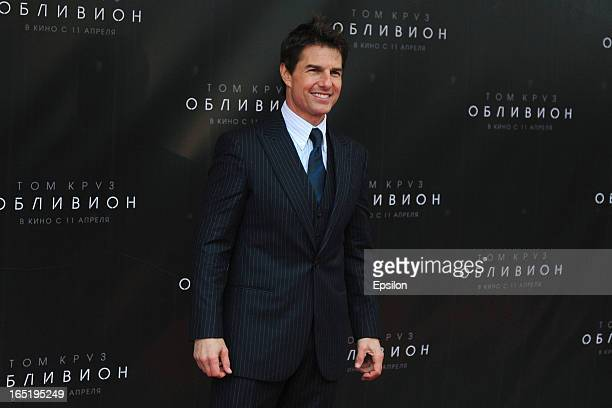 Tom Cruise attends the film premiere of 'Oblivion' at the Oktyabr cinema hall on April 1 2013 in Moscow Russia