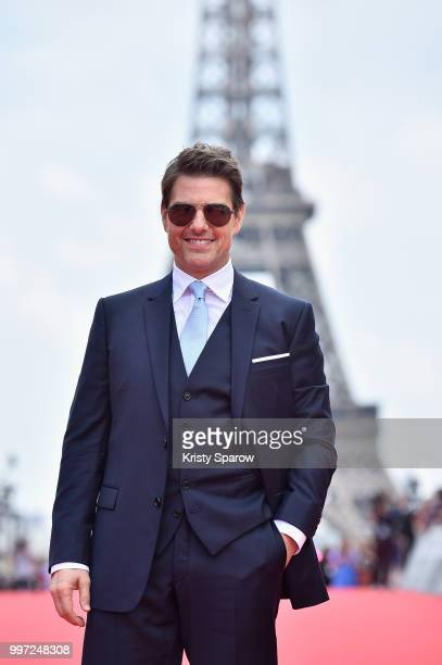 Tom Cruise attends the Global Premiere of 'Mission Impossible Fallout' at Palais de Chaillot on July 12 2018 in Paris France