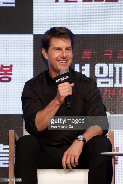Henry Cavill Christopher McQuarrie Tom Cruise and Simon Pegg attend the 'Mission Impossible Fallout' Korea Press Conference and Photo Call at Lotte...