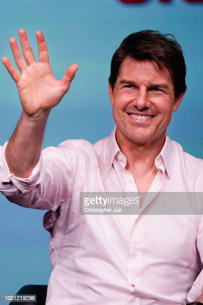 Tom Cruise attends the 'Mission Impossible Fallout' Press Conference and Photo Call on July 18 2018 in Tokyo Japan