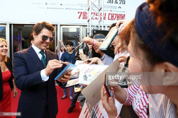 Simon Pegg Henry Cavil and Tom Cruise attend the 'Mission Impossible Fallout' Seoul Premiere at Lotte World Mall on July 16 2018 in Seoul South Korea
