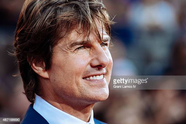 Tom Cruise attends the 'Mission Impossible Rogue Nation' New York Premiere at Duffy Square in Times Square on July 27 2015 in New York City