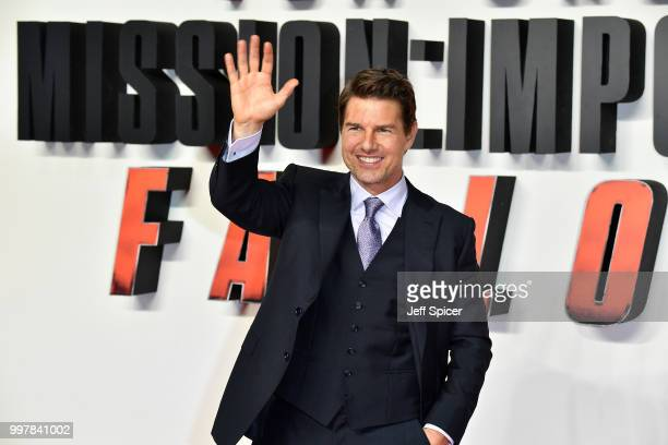"Tom Cruise attends the UK Premiere of ""Mission: Impossible - Fallout"" at BFI IMAX on July 13, 2018 in London, England."