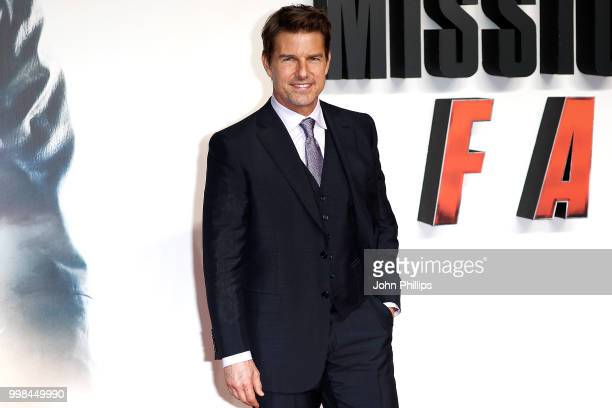 Tom Cruise attends the UK Premiere of 'Mission Impossible Fallout' at the BFI IMAX on July 13 2018 in London England