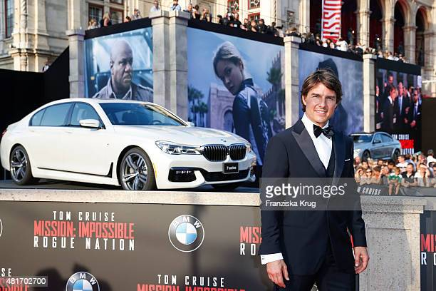 Tom Cruise attends the world premiere of 'Mission Impossible Rogue Nation' at the Opera House on July 23 2015 in Vienna Austria