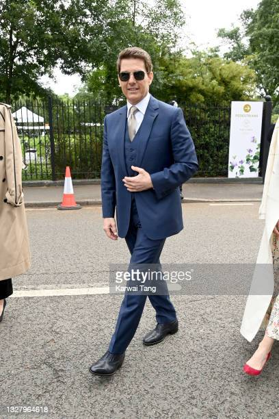 Tom Cruise attends Wimbledon Championships Tennis Tournament at All England Lawn Tennis and Croquet Club on July 10, 2021 in London, England.