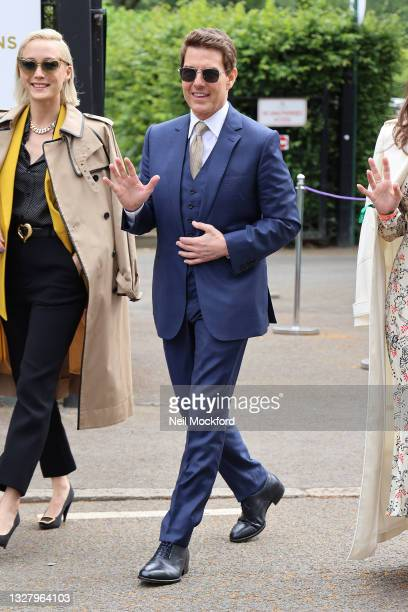 Tom Cruise attends Wimbledon Championships Tennis Tournament Ladies Final Day at All England Lawn Tennis and Croquet Club on July 10, 2021 in London,...