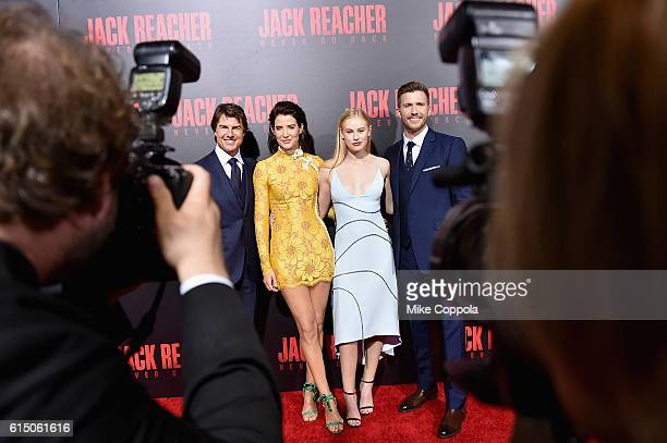 Tom Cruise Cobie Smulders Danika Yarosh Edward Zwick and Patrick Heusinger attend the 'Jack Reacher Never Go Back' Fan Screening at AMC Elmwood...