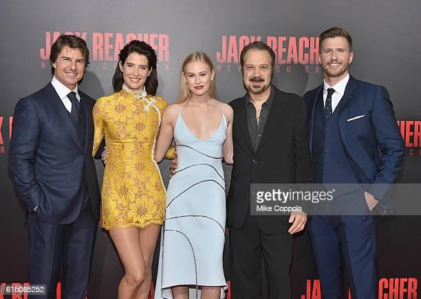 Tom Cruise Cobie Smulders Danika Yarosh Edward Zwick and Patrick Heusinger attend the 'Jack Reacher Never Go Back' Fan Screening at AMC Elmwood...