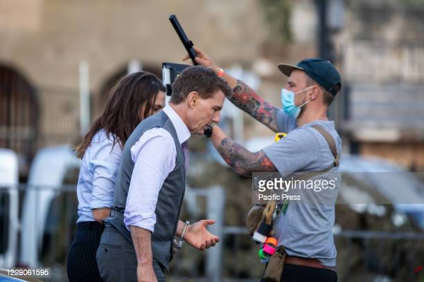 """Tom Cruise during the filming of the movie """"Mission Impossible 7"""" in Via dei Fori Imperiali in Rome."""