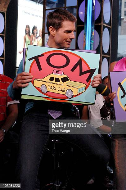 Tom Cruise during Tom Cruise Jamie Foxx and Jada Pinkett Smith Visit MTV's TRL August 5 2004 at MTV Studios Times Square in New York City New York...