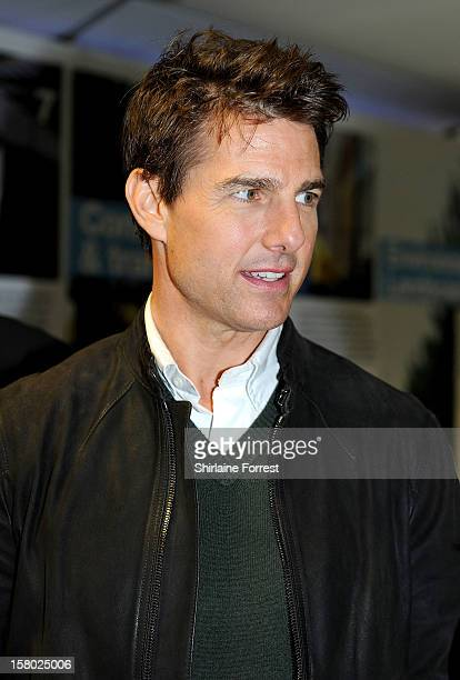 Tom Cruise from the Paramount Pictures film 'Jack Reacher' attend the Manchester derby as part of their European Tour at Etihad Stadium on December 9...