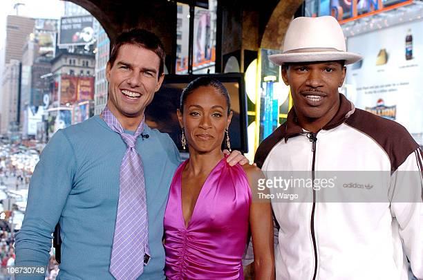 "Tom Cruise, Jada Pinket-Smith and Jamie Foxx during Tom Cruise, Jamie Foxx and Jada Pinkett Smith Visit MTV's ""TRL"" - August 5, 2004 at MTV Studios,..."