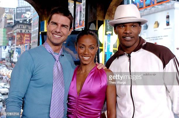 Tom Cruise Jada Pinkett Smith and Jamie Foxx during Tom Cruise Jamie Foxx and Jada Pinkett Smith Visit MTV's TRL August 5 2004 at MTV Studios Times...