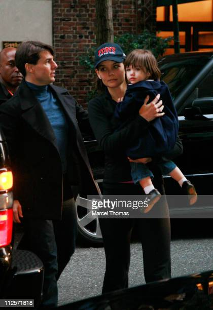 Tom Cruise Katie Holmes and Suri Cruise return to their hotel after the New York City Marathon on November 4 2007 in New York City