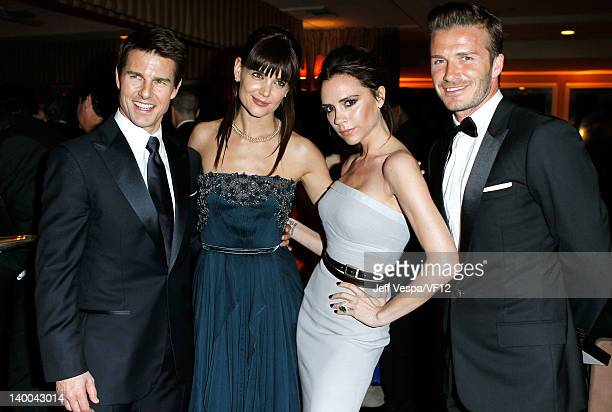 Tom Cruise Katie Holmes Victoria Beckham and David Beckham attend the 2012 Vanity Fair Oscar Party Hosted By Graydon Carter at Sunset Tower on...
