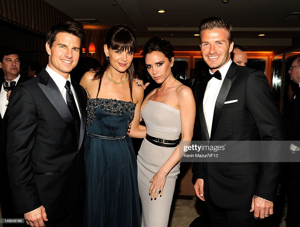 Tom Cruise, Katie Holmes, Victoria Beckham and David Beckham attend the 2012 Vanity Fair Oscar Party Hosted By Graydon Carter at Sunset Tower on February 26, 2012 in West Hollywood, California.