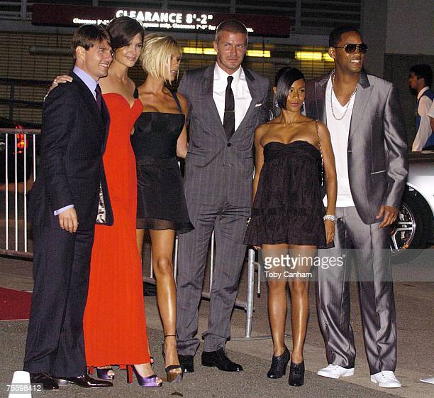 Tom Cruise Katie Holmes Victoria Beckham David Beckham Jada Pinkett Smith and Will Smith arrive for a welcome party held for David and Victoria...