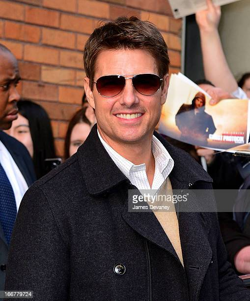 Tom Cruise leaves 'The Daily Show With Jon Stewart' on April 16 2013 in New York City