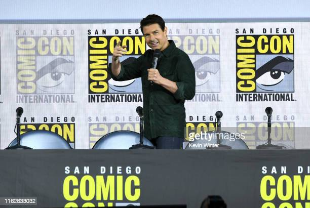 Tom Cruise makes a surprise appearance to discuss Top Gun Maverick during 2019 ComicCon International at San Diego Convention Center on July 18 2019...