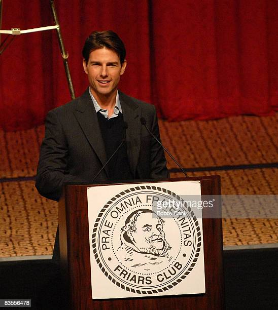 Tom Cruise makes an suprise visit to Matt Lauer in honor of the Friars Club roast of Matt Lauer at the New York Hilton on October 24 2008 in New York...