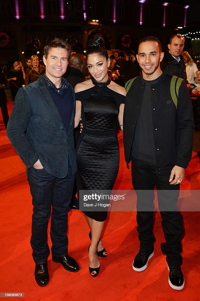 Tom Cruise, Nicole Scherzinger and Lewis Hamilton attend the world premiere of 'Jack Reacher' at The Odeon Leicester Square on December 10, 2012 in London, England.
