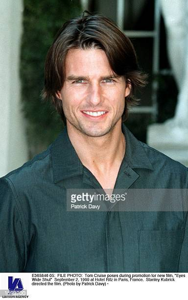 Tom Cruise poses during promotion for new film 'Eyes Wide Shut' September 2 1999 at Hotel Ritz in Paris France Stanley Kubrick directed the film