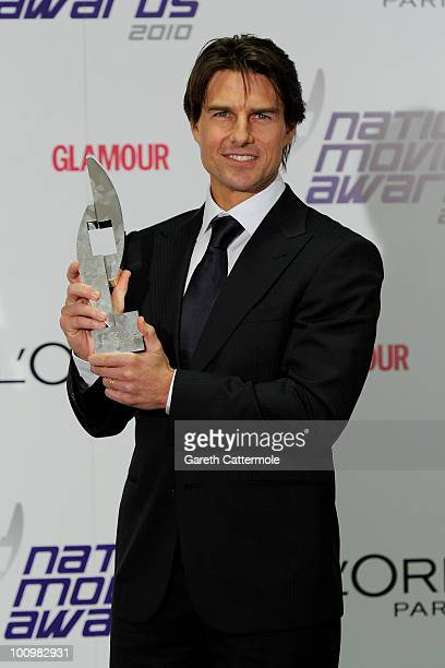 Tom Cruise poses in the winners room at the National Movie Awards 2010 at the Royal Festival Hall on May 26 2010 in London England