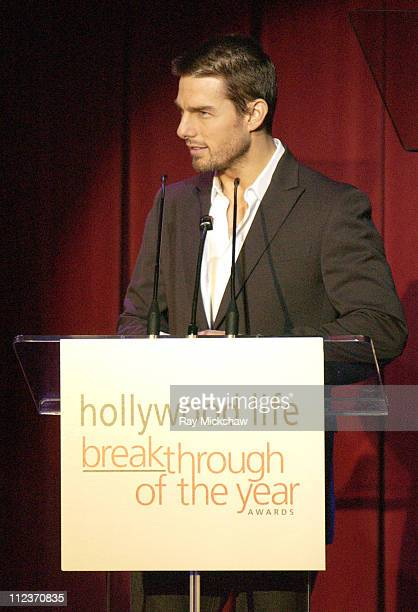 """Tom Cruise presenting the Breakthrough of the Year Award to Ken Watanabe for """"The Last Samurai"""""""
