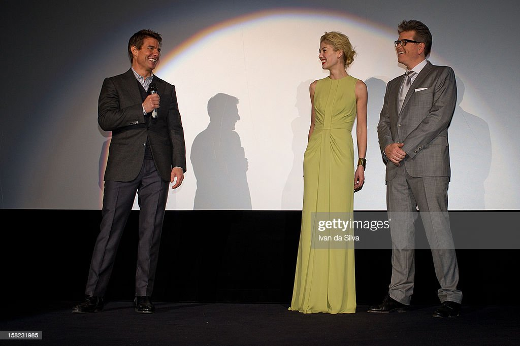Tom Cruise, Rosamund Pike and Christopher McQuarrie attend the Swedish Premiere of 'Jack Reacher' at Multiplex Sergel on December 11, 2012 in Stockholm, Sweden.