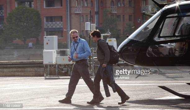 Tom Cruise seen arriving at a London heliport flying his own US registered helicopter on August 11 2019 in London England