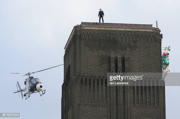 Tom Cruise seen filming scenes for Mission Impossible 6 at the Tate Moderm museum on February 11 2018 in London England