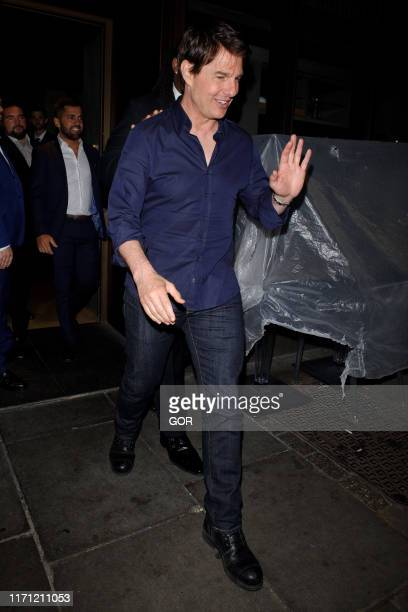 Tom Cruise seen leaving Novikov restaurant in Mayfair on August 30 2019 in London England