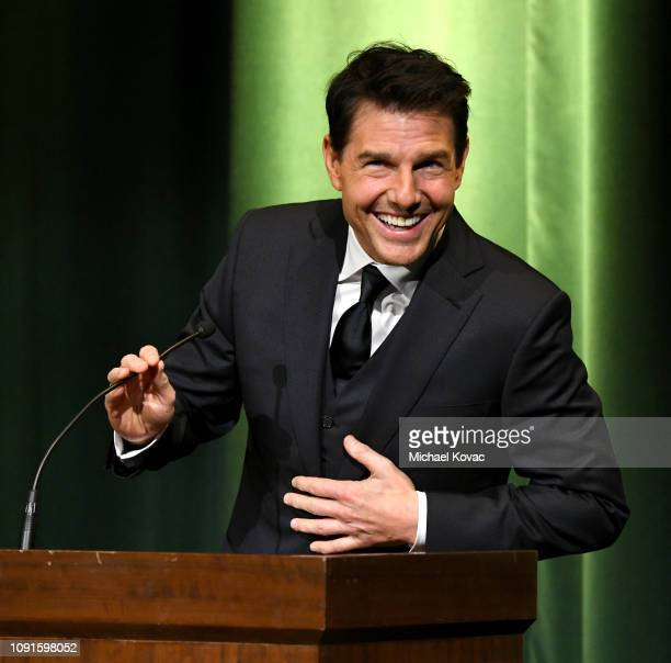 Tom Cruise speaks onstage during the 10th Annual Lumiere Awards at Warner Bros Studios on January 30 2019 in Burbank