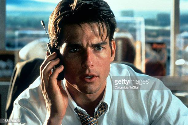 Tom Cruise talks on a phone in a scene from the film 'Jerry Maguire' 1996