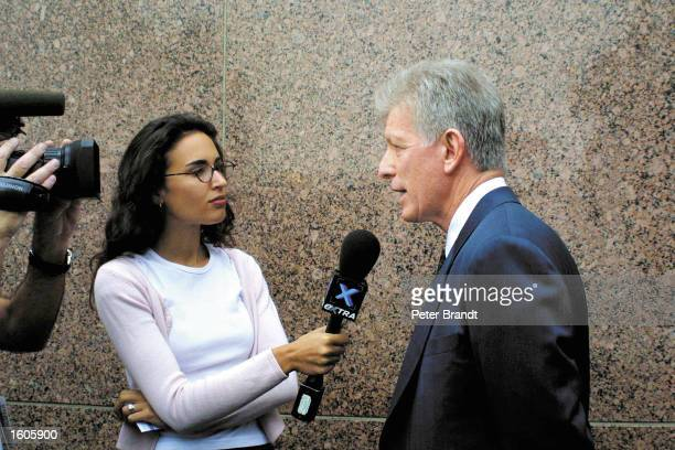 Tom Cruise''s attorney Dennis Wasser fields questions outside LA County Courthouse July 31 2001 as he announces the divorce between actors Tom Cruise...