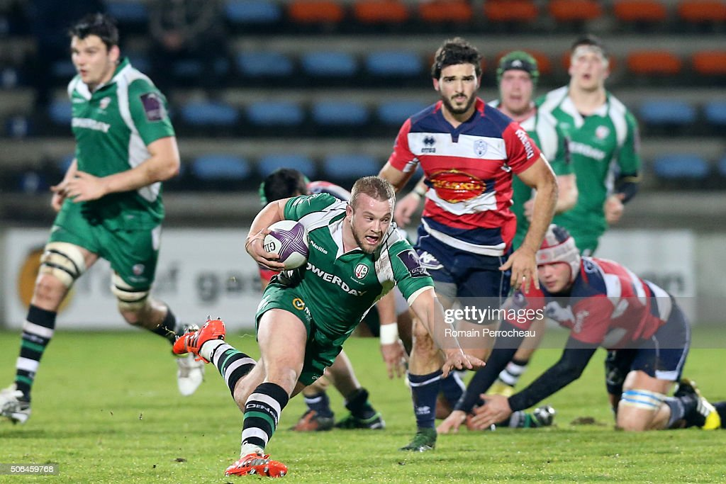 Tom Cruse for London Irish in action during the European Rugby Challenge Cup match between Agen and London rish at stade Armandie on January 23, 2016 in Agen, France.