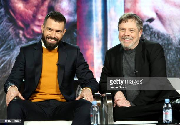 Tom Cullen and Mark Hamill speak during HISTORY's 'Knightfall' presented by Mark Hamill Tom Cullen and Aaron Helbing at the 2019 Winter Television...
