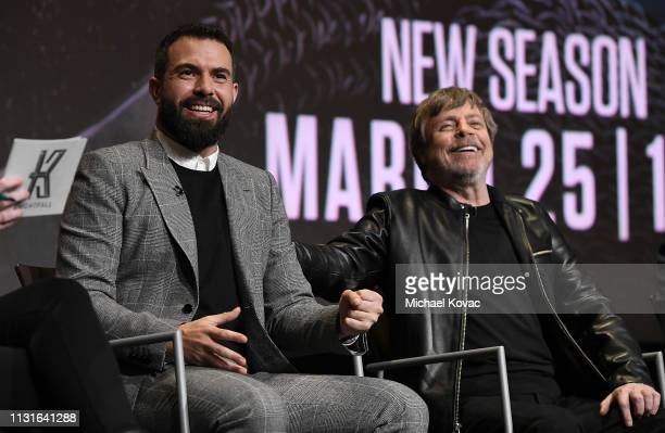 Tom Cullen and Mark Hamill speak onstage at the Knightfall For Your Consideration Event in Los Angeles on March 19 2019 in Los Angeles California