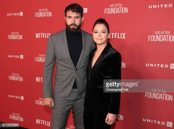Tom Cullen and Tatiana Maslany attend the SAGAFTRA Foundation Patron of the Artists Awards 2017 at the Wallis Annenberg Center for the Performing...