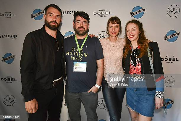 Tom Cullen Jamie Adams Dolly Wells and Laura Patch appear at a cocktail party at Basecamp in support of their film 'Black Mountain Poets' during SXSW...